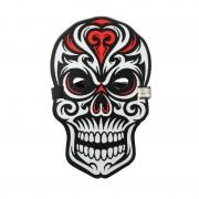 Звуковая светодиодная маска LED Mask череп (Белый с красным)