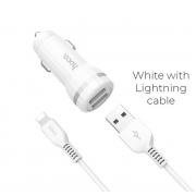Автомобильное зарядное устройство Hoco Z27 Staunch с двумя USB портами с кабелем 1м Lightning (Белый)