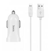 Автомобильное зарядное устройство Hoco Z2A 2USB с кабелем Lightning (Белый)