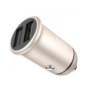 Автомобильное зарядное устройство Hoco Z30 Easy route dual port mini car charger (Золотой)