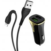 Автомобильное зарядное устройство Hoco Z31 Universe 2 USB порта и кабель Lightning (Черный)