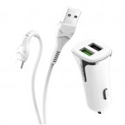 Автомобильное зарядное устройство Hoco Z31 Universe 2 USB порта и кабель Type-C (Белый)