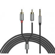 Аудио кабель Hoco UPA10 3.5мм Double Lotus 1.5м (Серый металлик)