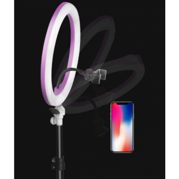 Кольцевая светодиодная лампа освещение для профессиональной съемки, селфи лампа с держателем для смартфона и пультом Ring Fill Light ZD-666 12 дюймов (Черный)