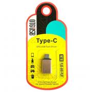 Адаптер переходник OTG T01 Type-C на USB Metal (Золотой)