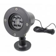 Уличный лазерный проектор Outdoor Lawn Snowflake Light со сменными картинками (Черный)