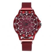 Женские часы с крутящимся циферблатом Flower Diamond (Красный)