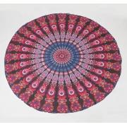 Круглое пляжное полотенце покрывало Павлин 150 см (Разноцветный)