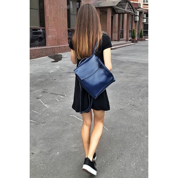 Рюкзак French натуральная кожа (Синий)