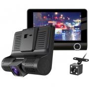 Автомобильный видеорегистратор T655 с 3 камерами (Черный)