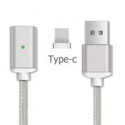 Магнитный кабель TypeC DM-M12-TPC в тканевой оплетке (Серебро)