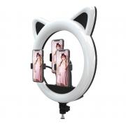 Кольцевая лампа LED RING CAT 408 с тремя держателями (Черный)