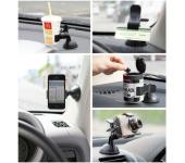 Автомобильный держатель для смартфона и навигатора прищепка (Черный)