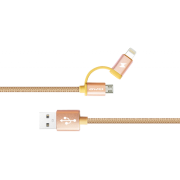 Awei Кабель 2 в 1 Lightning/microUSB - USB CL-930 (золотой)