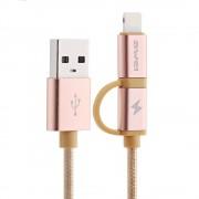 Awei Кабель 2 в 1 Lightning/microUSB - USB CL-930 (розовое золото)