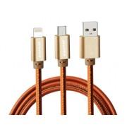 Дата кабель 2 в 1 Awei CL-987 Leather cable (оранжевый)