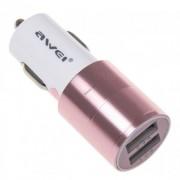 Автомобильная зарядка Awei C-100 2USB 2.4A (розовое золото)