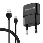 Сетевое зарядное устройство USB-microUSB Awei C-832 (Черный)