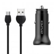 Автомобильное зарядное устройство USB-microUSB Awei C-838 (Черный)