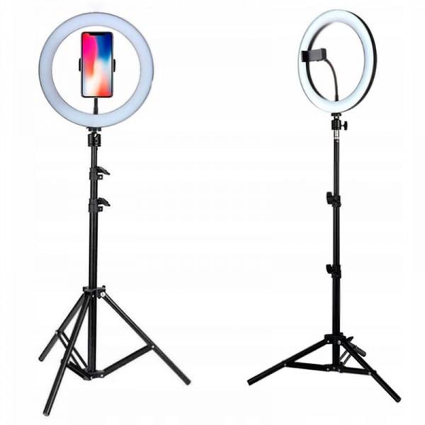 Кольцевая светодиодная лампа освещение для профессиональной съемки, селфи лампа с держателем для смартфона и пультом Ring Fill Light ZD-666 10 дюймов (Черная)