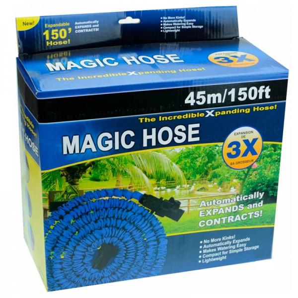 Поливочный растягивающийся садовый шланг с насадкой-распылителем Magic hose 45 метров (Синий)