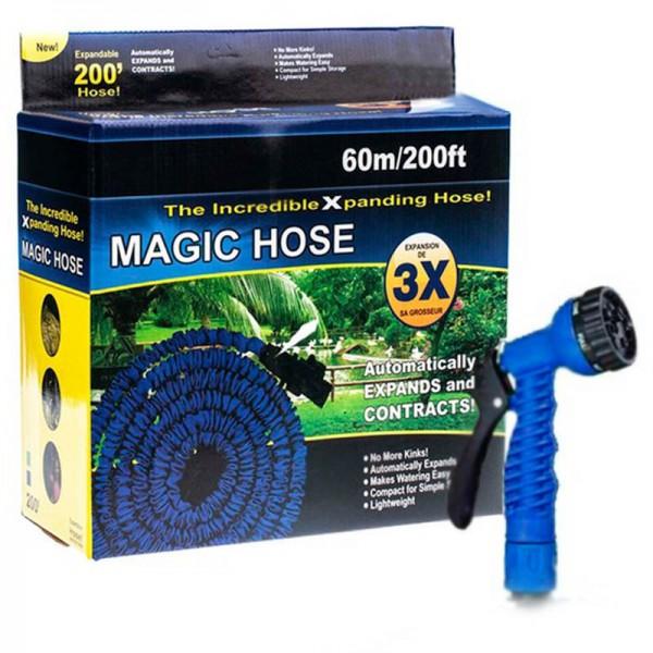 Растягивающийся садовый шланг с насадкой-распылителем Magic hose 60 метров (Синий)