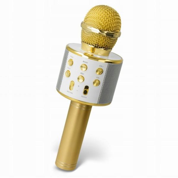 Беспроводной Bluetooth Hifi микрофон караоке WS 858 (Золотистый)
