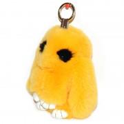 Брелок Кролик из меха с ресничками (Желтый)