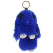 Брелок Кролик из меха с ресничками (Синий)