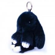 Брелок Кролик из меха с ресничками (Темно-синий)