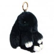 Брелок Кролик из меха с ресничками (Черный)