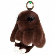 Брелок Кролик из меха с ресничками (Темно-коричневый)