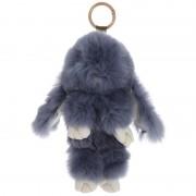 Брелок Кролик из меха с ресничками (Темно-серый)