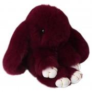 Брелок Кролик из меха с ресничками (Бордовый)
