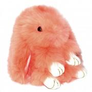 Брелок Кролик из меха с ресничками (Персиковый)