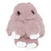 Брелок Кролик из меха с ресничками (Пепельно-розовый)