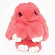 Брелок Кролик из меха с ресничками (Светло-розовый)