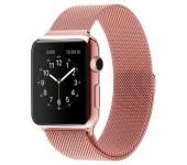 Ремешок Milanese Loop для Apple Watch 38 40 мм ремешок на магнитной застежке, гибкий, нервущийся (Розовое золото)