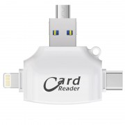 Card Reader 4 in 1 Standard USB+Lightning+Type-C+Micro USB (Белый)