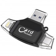 Card Reader 4 in 1 Standard USB+Lightning+Type-C+Micro USB (Черный)