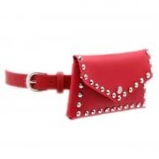 Кожаная поясная сумка с заклепками (Красная)