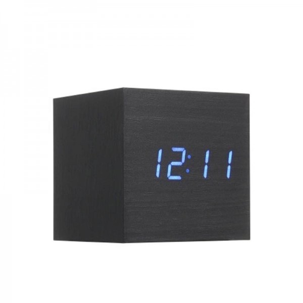 Электронные часы деревянный куб с звуковым управлением VST-869 (Черный)