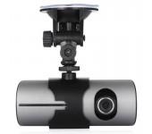 Автомобильный видеорегистратор Eplutus DVR-R300 с 2 камерами и GPS (Черный)