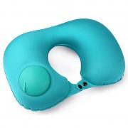 Дорожная надувная подушка для шеи со встроенной помпой Pictet Fino RH34 (Синяя)