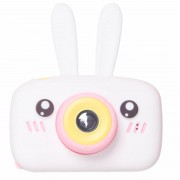 Детская цифровая камера фотоаппарат D3 Plus с силиконовым чехлом Зайка (Белый)