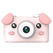 Детская цифровая мини камера фотоаппарат D3 Plus с силиконовым чехлом Свинка (Розовый)