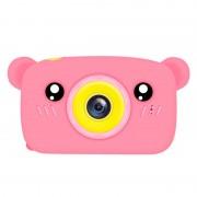 Детская цифровая мини камера фотоаппарат в форме медведя (Розовый)