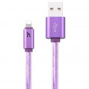Кабель Hoco UPL12 Metal Jelly Knitted Lightning Charging Cable (Smart Light) (Фиолетовый)