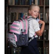 Школьный рюкзак для девочки с ортопедической спинкой STERNBAUER (Серо-розовый)