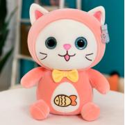 Мягкая игрушка Котенок с логотипом рыбки 30 см (Розовая)